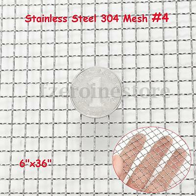 4 Mesh Stainless Steel Woven Wire Filter Sheet Cloth Screen 15x90cm