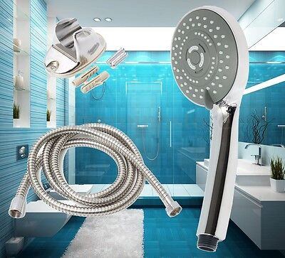Universal Shower Head Set 3 Multi Function Stainless Chrome Bath+ 2M Hose+Holder