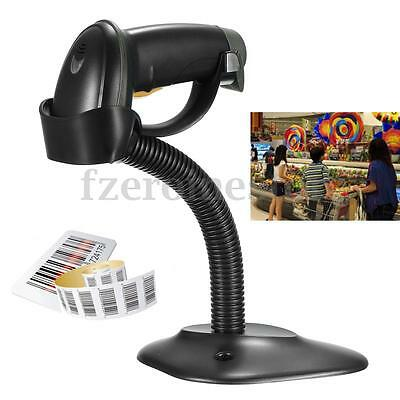 USB Laser Barcode Scanner Automatic Bar Code Scan Reader With Stand Handheld POS