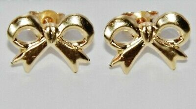 """Beautiful 9ct Yellow Gold """"Art Deco Style Bow"""" Stud Earrings"""