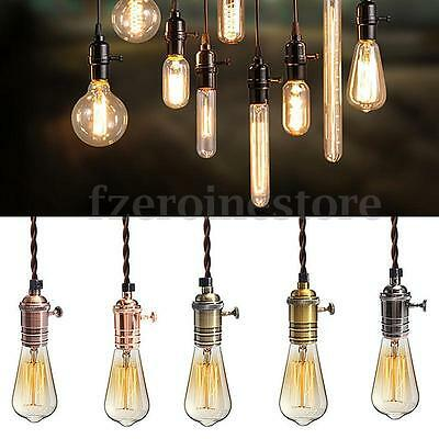 Retro Vintage Pendant Ceiling Lamp Fitting Holder Copper Hanging 1/3 E27 Light