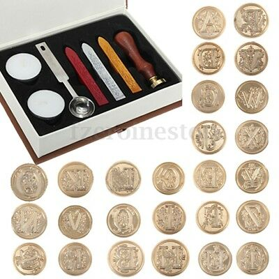 Retro Classic Initial Alphabet Wax Seal Stamp Sealing Wax Letters Invitation Set