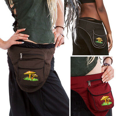 Mushrooms Side Pixie Pocket Belt, Festival Money Belt, Travel Pocket Waist Bag
