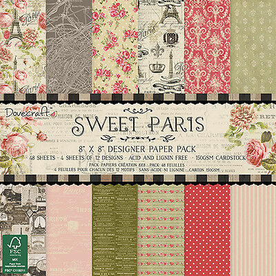 "Dovecraft Sweet Paris Full Paper Pack - 48 Sheets - 8"" x 8"" - Free Post"