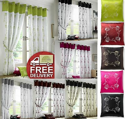 Tahiti Floral Eyelet Top Fully Lined Curtains Voile Window Or Cushion Cover