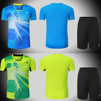 2017 victor men's Tops table tennis clothing Badminton Set T-shirt+shorts