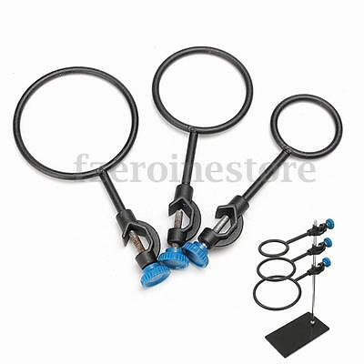 Metal Flask Support Rings Lab Stand Base Set With Jackscrew Dia 60mm 80mm 100mm