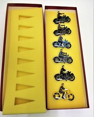 Dorset Collectables - 6 X Lead Alloy Police Motorcycles -  Different Colours