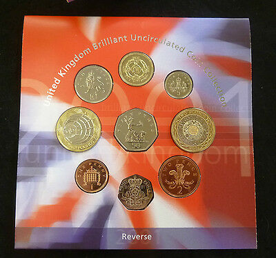 2001 Royal Mint UK Brilliant Uncirculated 9-Coin Year Set pack
