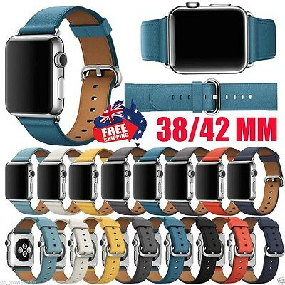 For Apple Watch 38/42MM Single Tour Leather Band Strap Bracelet Watchband New AU