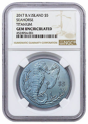 2017 British Virgin Islands Seahorse Turquoise Titanium $5 NGC Gem Unc SKU45717
