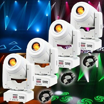 4x Equinox Fusion 100 Spot MKII (White) DJ Disco LED Gobo Light Effect & Cables