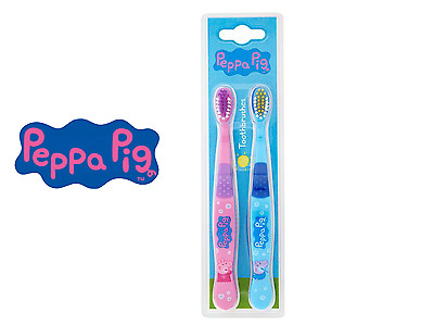 Peppa Pig Twin Toothbrushes Pink and Blue child brushes