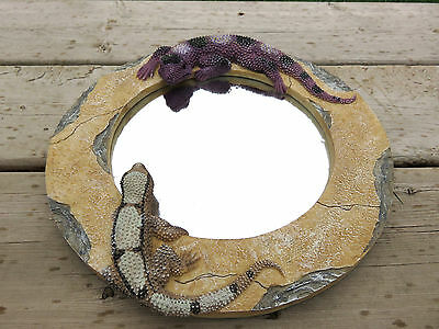 Gecko Mirror Mexican Decor Resin 10 inch. Lizards Aztec Bathroom Decor New