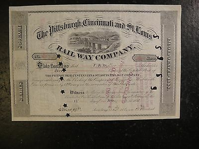 1885 Pittsburgh, Cincinnati, & St Louis Railway Co. Stock Certificate. Very Fine