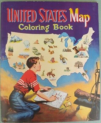 Antique Rare 1955 Very Large Whitman United States Map Coloring Book
