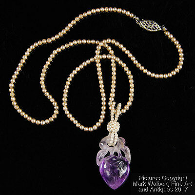 Chinese Amethyst & Seed Pearl Necklace w/ Silver Clasp, Peach Carving, 19/20th C