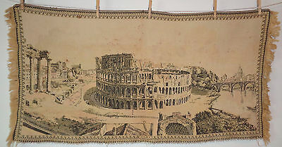 Antique Vintage Tapestry City of Rome Roma Colosseum 47 x 24 Oblong #11