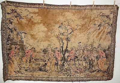 Large Antique Velvet Tapestry Colonial Scene Fishing Hunting Market #14 73 x 49