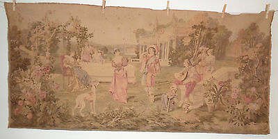 "Antique French Tapestry Dinner Party in Garden Musician Couples Dog 61 x 29"" #15"