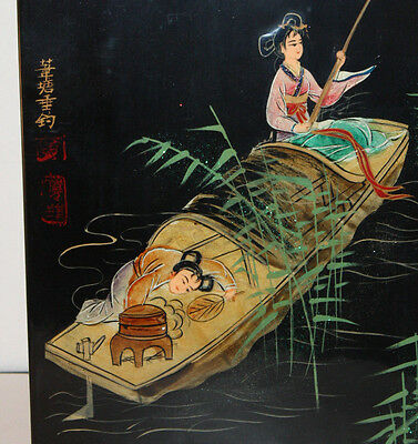 Chinese Signed Lacquered Wood Panel, Colorful Scene of Girls Fishing in Sampan