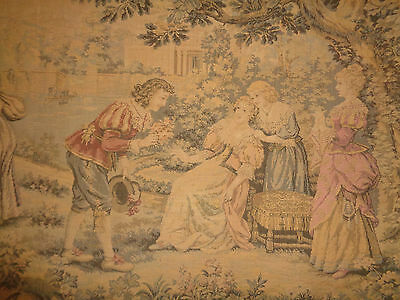 Antique Tapestry Outdoor Colonial Scene Lady Gentleman Peasant Child Castle #16
