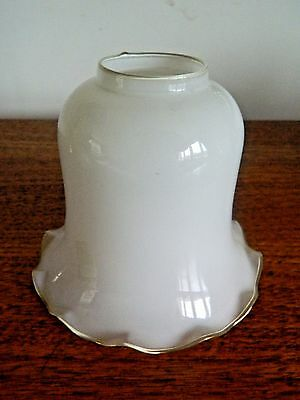Stunning Vintage Opaque Glass Lamp Light Shade Gilt Edged Frill Decoration