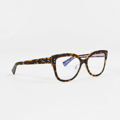 "Christian Dior $540 Brown Tan Havana ""Dior Exquise O"" Cat Eye Glasses"