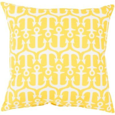 "Rain by Surya Anchors Poly Fill Pillow, Yellow/Ivory, 18"" x 18"" - RG113-1818"