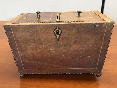 Vintage Two Compartment Wood Tea Caddy/ Box With String Inlay And Escutcheon