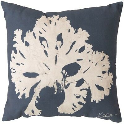 "Rain by Surya Coral II Poly Fill Pillow, Navy/Beige, 20"" x 20"" - RG054-2020"