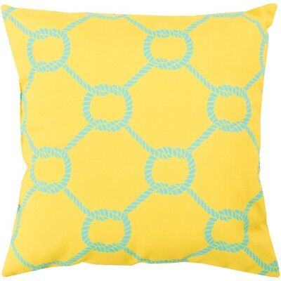 "Rain by Surya Poly Fill Pillow, Bright Yellow/Aqua, 18"" x 18"" - RG144-1818"