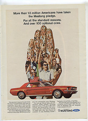 1967 Ford Mustang Vintage Print Ad