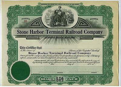 Stock Certificate – Railroad- Stone Harbor Terminal Rr Co. - Nj.