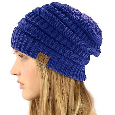 Unisex Winter Chunky Soft Stretch Cable Knit Slouch Beanie Skull Hat Cap Blue