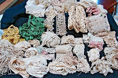 Antique Early Vintage Large Variety Lot Of Crochet Tassels Fringe Trim