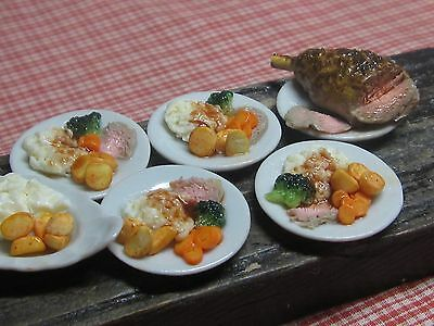 12th scale dollhouse dolls house food~Lamb dinner ~ by redclegg