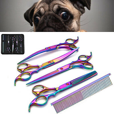 "7"" Pet Hair Scissors Set Dog Grooming Cutting &Thinning &Curved Shears Comb Tool"