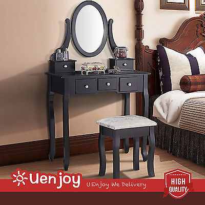 Black Dressing Table Makeup Desk with Stool 5 Drawers and Oval Mirror Bedroom