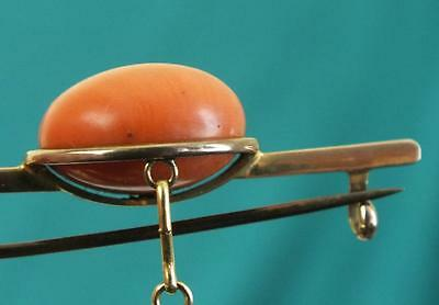 Fine Antique 9ct Solid Gold & Large Carved Coral Bead Mounted Bar Brooch - 6g
