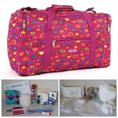 BUDGET Pre-packed Pink Heart Maternity Hospital Bag Mum & Baby