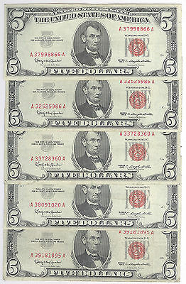 Lot of 5 - $5.00 Red Seal United States Notes + 1963 + No Reserve!