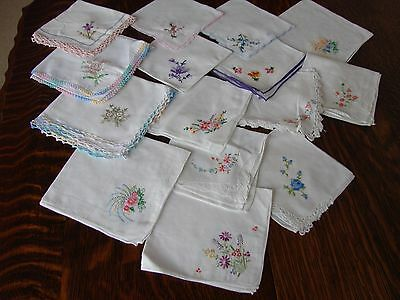 15 vintage white cotton handkerchiefs,embroidered hand crochet lace suit wedding
