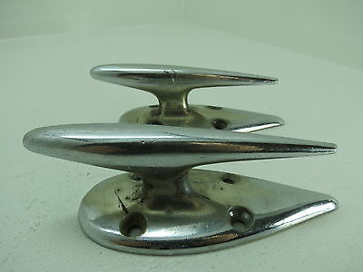 Perko Pair 4+1/2 Inch Pitted Chrome Retro Ship Boat Dock Cleats Fender (#1819)