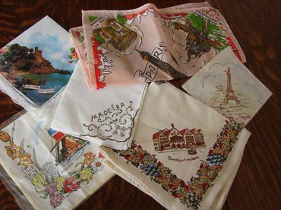 6 Vintage holiday souvenir handkerchiefs,from Paris, Holland, Frankfurt,Madeira