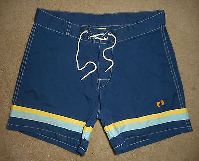 Vtg 80s HANG TEN Board Shorts * NAVY BLUE * Color Block Surf Swim Suit USA : 30