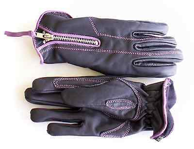 Womens Purple & Black Leather - Motorcycle Gloves - Lined - Winter