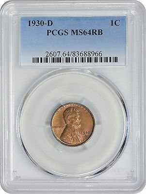 1930-D Lincoln Cent MS64RB PCGS Mint State 64 Red Brown