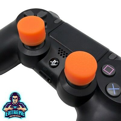 [ORANGE] Extreme Analog Thumb Stick Cover Grip Caps Extenders for PS4 Controller