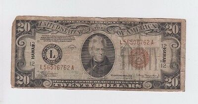 Hawaii  $20 1934-A World War II Emergency money one old note low grade
